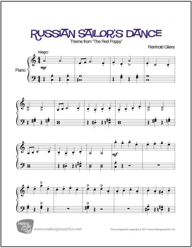 Russian Sailors Dance Red Poppy Easy Sheet Music For Piano