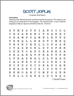 graphic about Music Word Search Printable titled Scott Joplin No cost Renowned Composer Phrase Seem Worksheet
