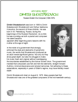 Dmitri Shostakovich | Free Famous Composer Biography