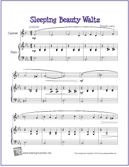 picture about Free Printable Clarinet Sheet Music named Sleeping Magnificence Waltz No cost Very simple Clarinet Sheet Songs