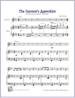 image relating to Free Printable Disney Sheet Music titled The Sorcerers Apprentice (Fantasia) Totally free Simple Clarinet