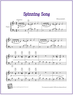 Spinning Song (Ellmenreich) | Free Piano Sheet Music (Digital Print)