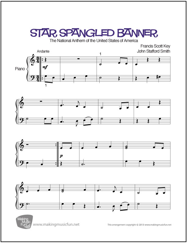 Piano piano sheet music with letters : Star Spangled Banner | Easy Piano Sheet Music (Digital Print)