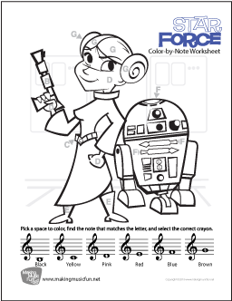 Star Wars John Williams Free Treble Clef Color By Note Worksheet