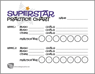 Superstar | Music Practice Chart - Record Assignments and Practice Goals (2 Weeks)