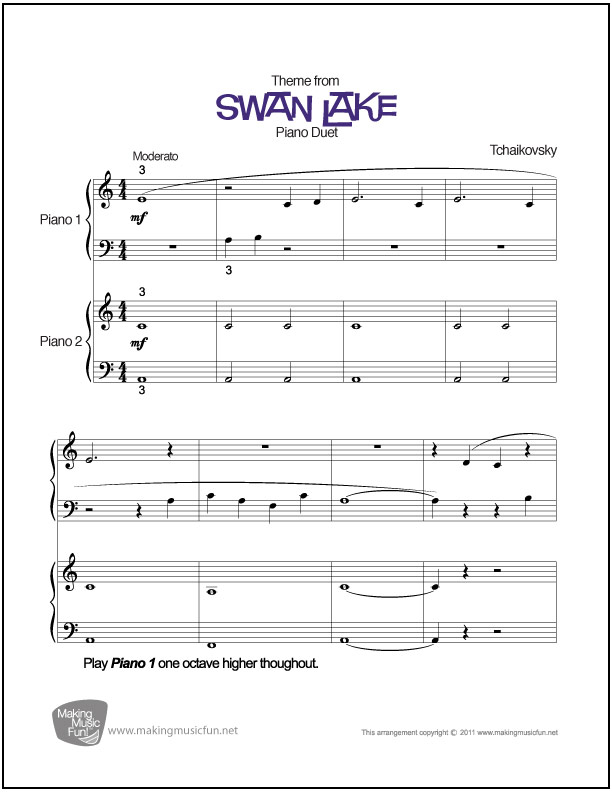 Piano beginning piano sheet music : Swan Lake (Tchaikovsky) | Beginner Piano Duet Sheet Music