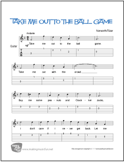 Take Me Out To The Ball Game Beginner Guitar Sheet Music Tab
