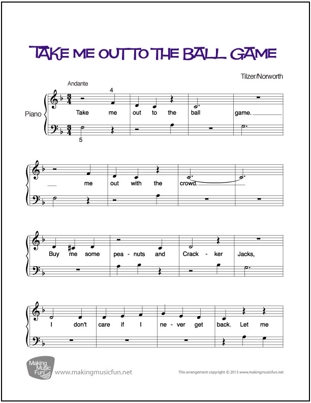 Piano piano sheet music with letters : Take Me Out to the Ball Game | Beginner Piano Sheet Music (Digital ...