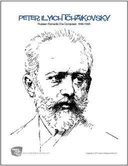 peter ilyich tchaikovsky free famous composer coloring page digital print