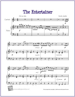 photo regarding Free Printable Clarinet Sheet Music named The Entertainer (Joplin) Absolutely free Simple Clarinet Sheet Tunes
