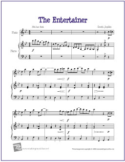image about Free Printable Flute Sheet Music identified as The Entertainer (Joplin) Absolutely free Very simple Flute Sheet Tunes
