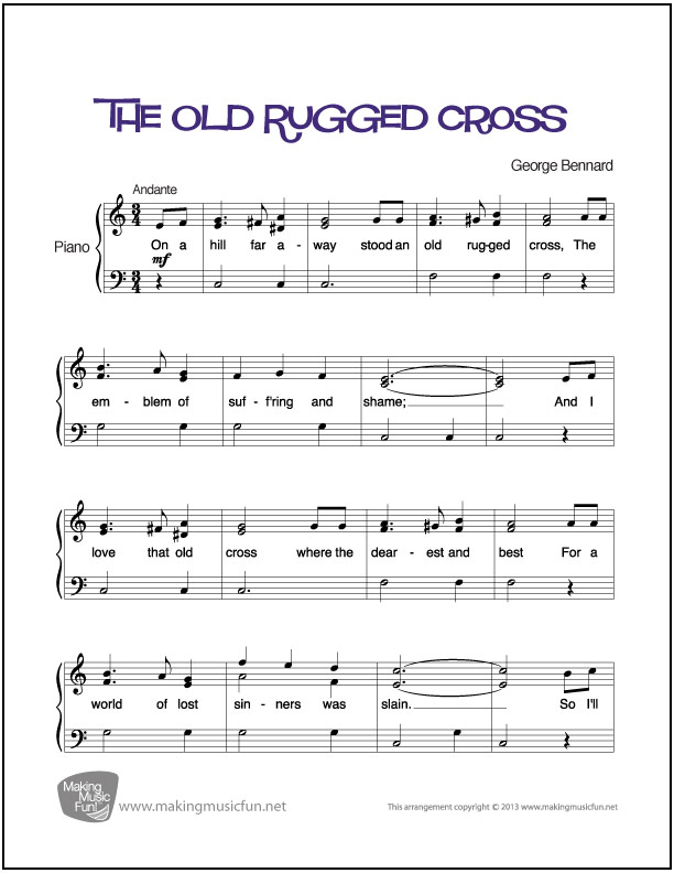 picture relating to Old Rugged Cross Printable Sheet Music named The Aged Rugged Cross Basic Piano Sheet New music (Electronic Print)