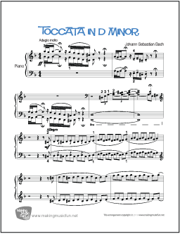 Toccata in D Minor (Bach) | Free Easy Piano Sheet Music
