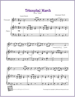Triumphal March From Aida Verdi Free Easy Trumpet Sheet Music