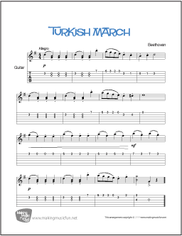 Turkish March (Beethoven) | Easy Guitar Sheet Music (TAB)
