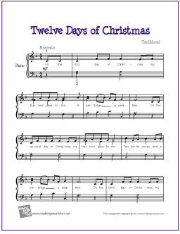 twelve days of christmas free easy piano sheet music digital print - On The 12th Day Of Christmas Song