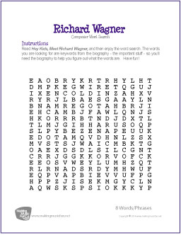 Richard Wagner | Free Famous Composer Word Search Worksheet