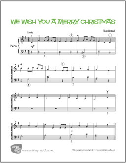 photograph relating to Lyrics to We Wish You a Merry Christmas Printable called We Motivation On your own A Merry Xmas Basic Piano Sheet Tunes