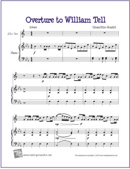 Overture To William Tell Free Alto Saxophone Sheet Music