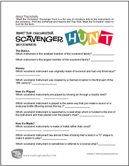 Meet the Orchestra Scavenger Hunt | Free Woodwind Family ...