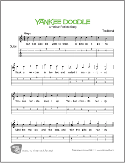 yankee doodle free beginner guitar sheet music tab. Black Bedroom Furniture Sets. Home Design Ideas